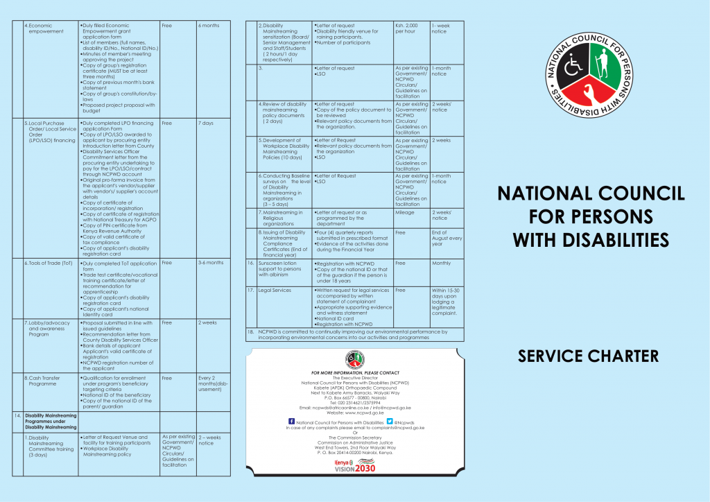 Service Charter english 2020 brochure Front